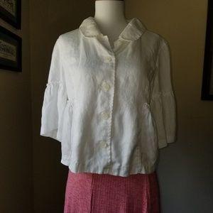 Boston Proper Blouse Top Size 10 White Linen